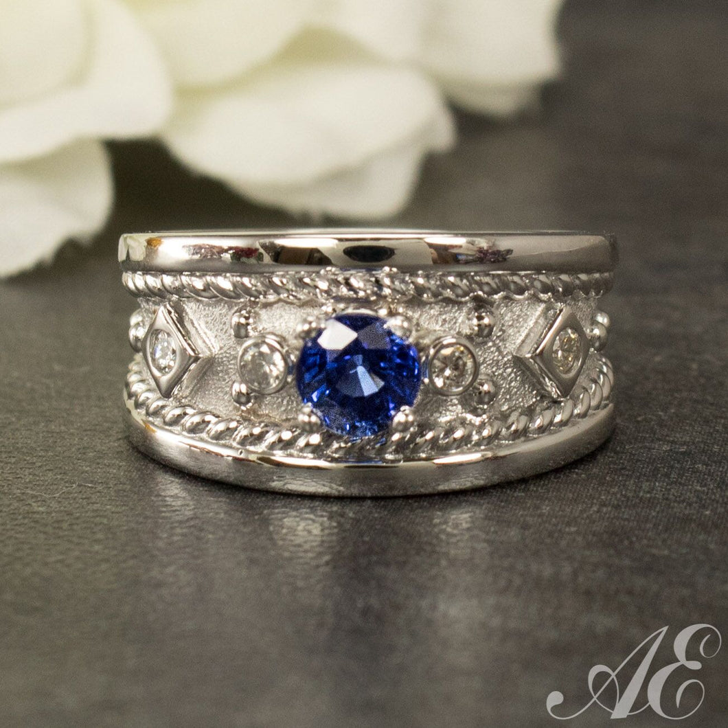 Half Off - One of a kind - 14k white gold and sapphire ring