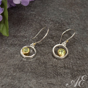 Sterling silver earrings with 22k gold vermeil and peridot