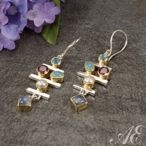Sterling silver multi color stone earrings with 22k gold vermeil