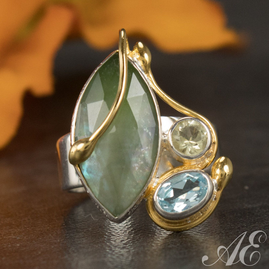 Sterling silver and 22k gold vermeil ring with mother of pearl, blue topaz and lemon quartz