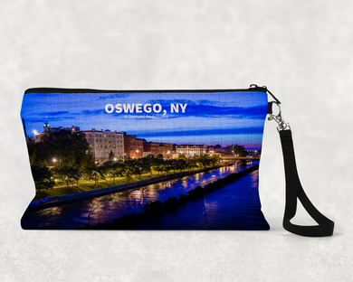 Oswego River Looking West Linen Pouch with Strap