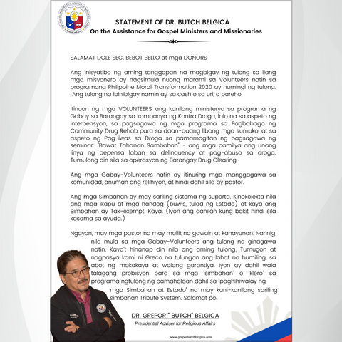 Statement of Dr. Butch Belgica: On the Assistance for Gospel Ministers and  Missionaries