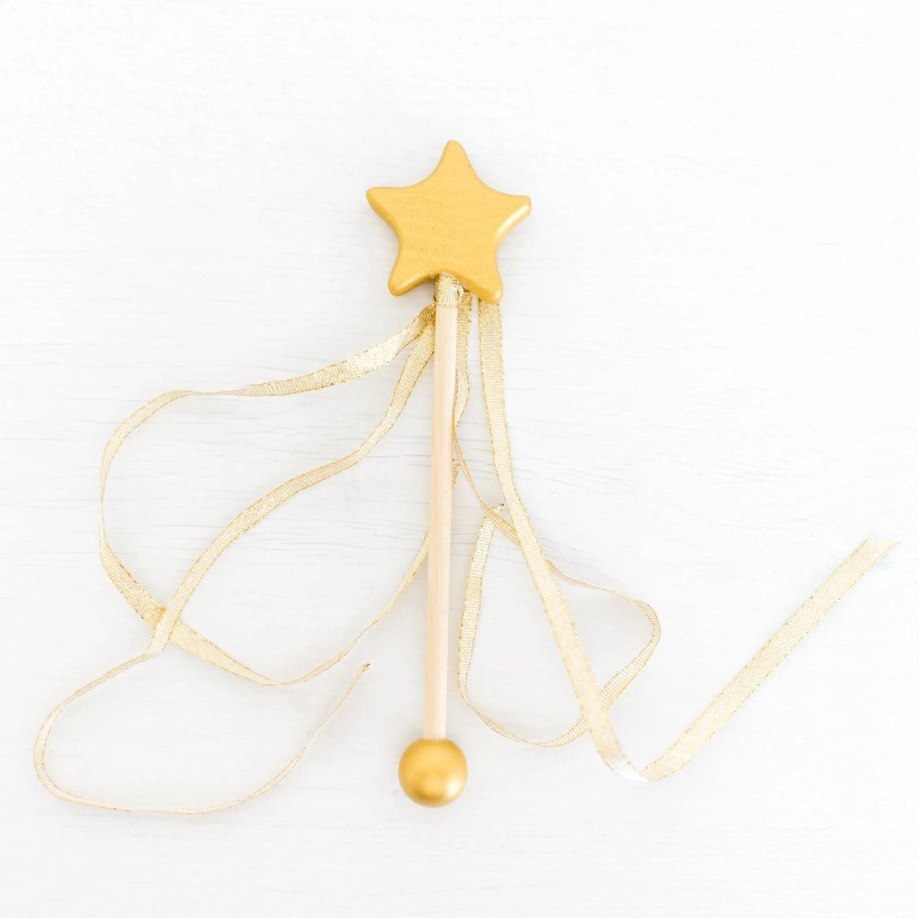 Gold Wooden Wand with Gold Ribbon