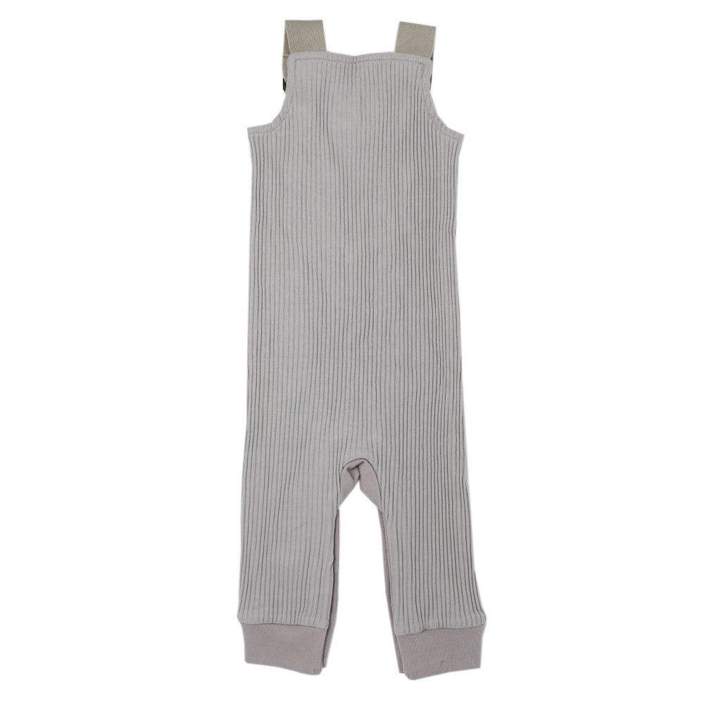 Footless Ribbed Overall Light Gray