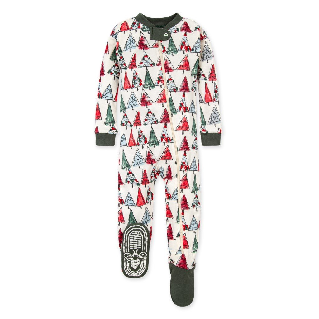 Burt's Bees O Christmas Tree Organic Zipper Sleeper Family Pajamas Front View