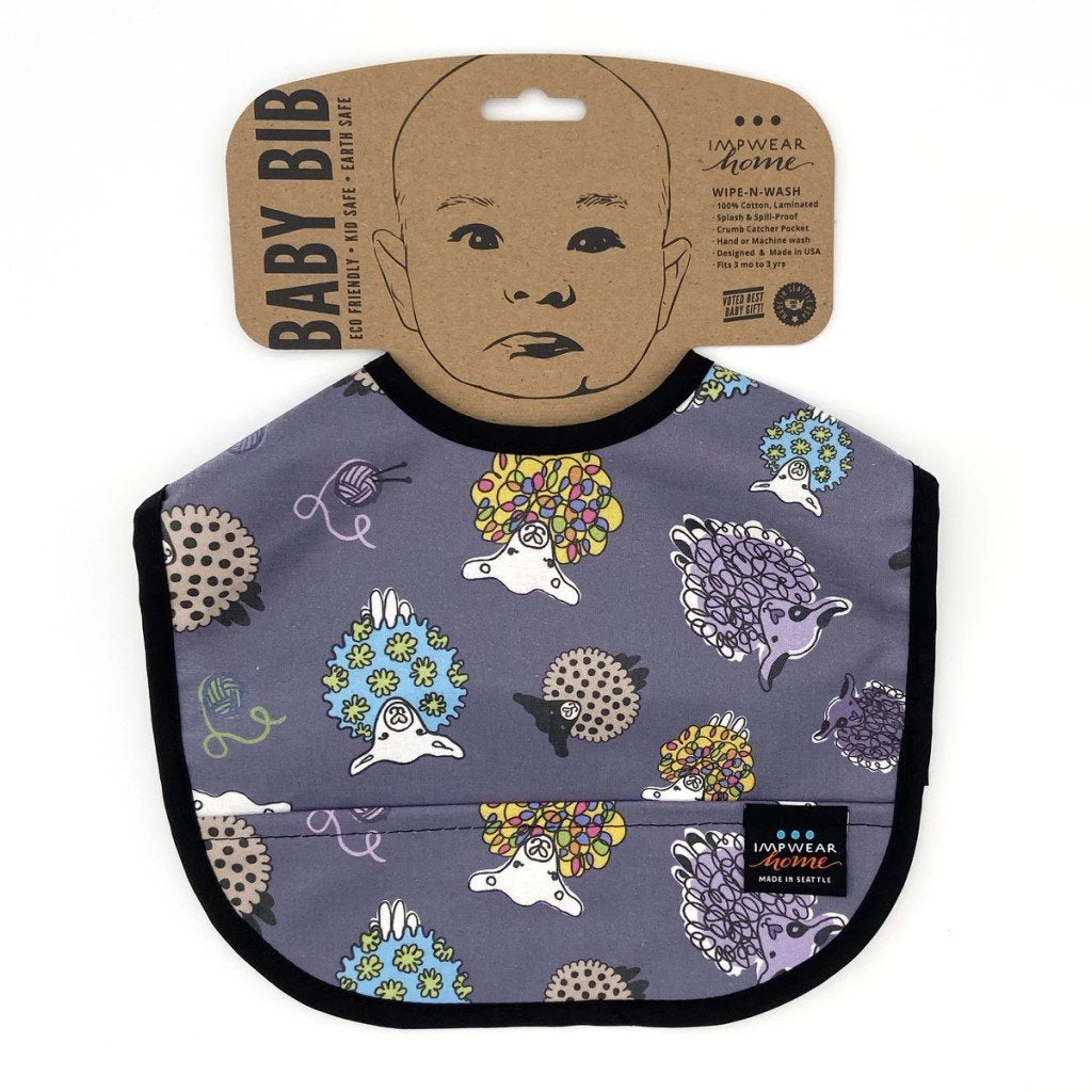 Jack's Bib Eco-Friendly Wipe-N-Wash Pocket Bib - Plum Sheep