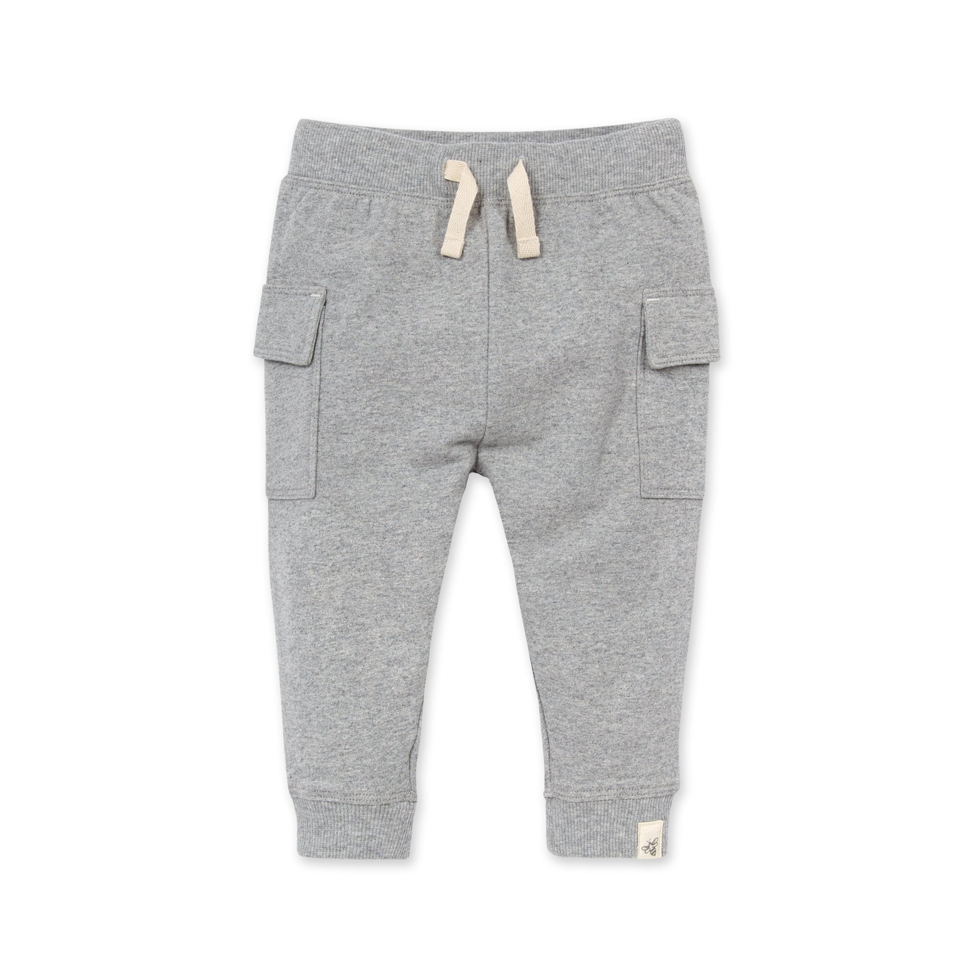 Organic Heather Grey French Terry Cargo Pant