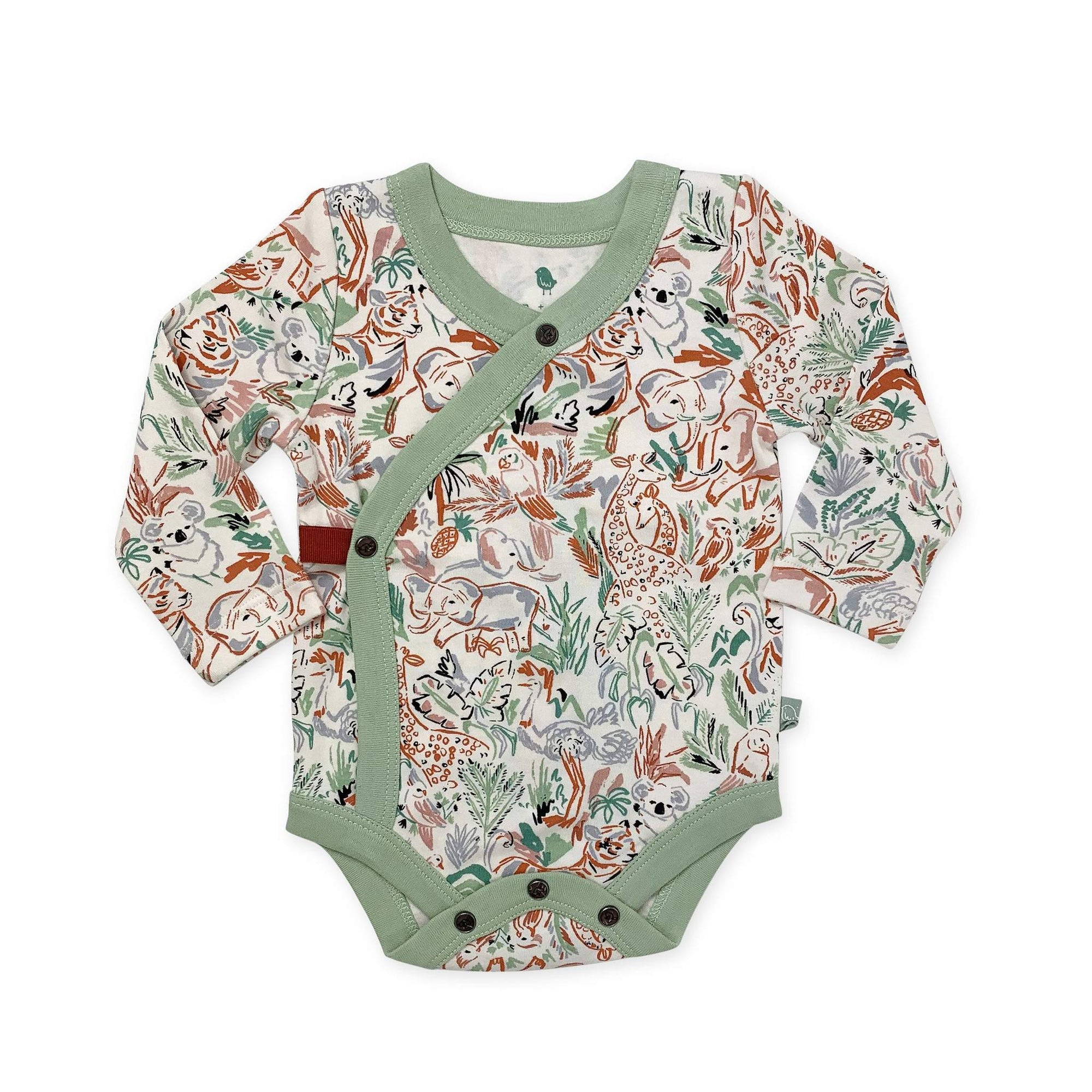 Organic Long Sleeve Kimono Snap Bodysuit - Animal Kingdom