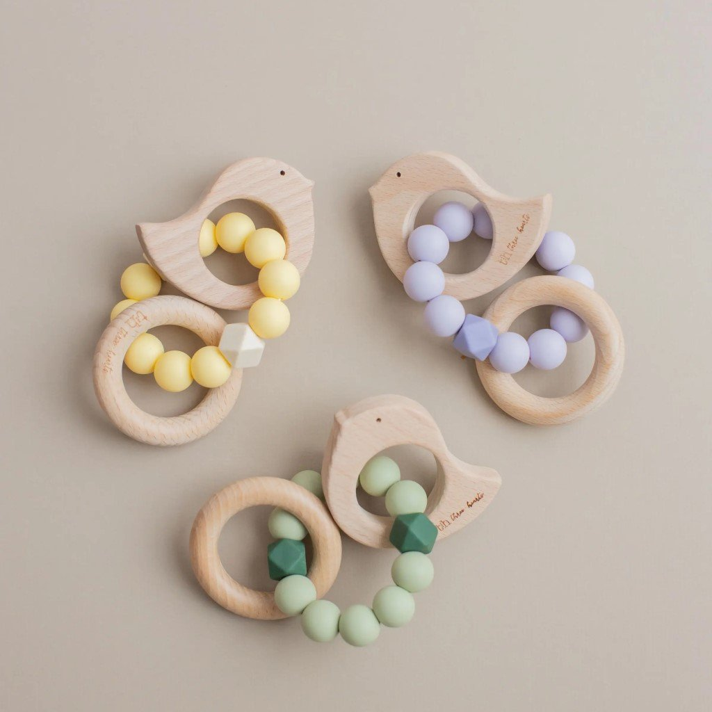 Dove/Chick Silicone & Wood Teething Rattle