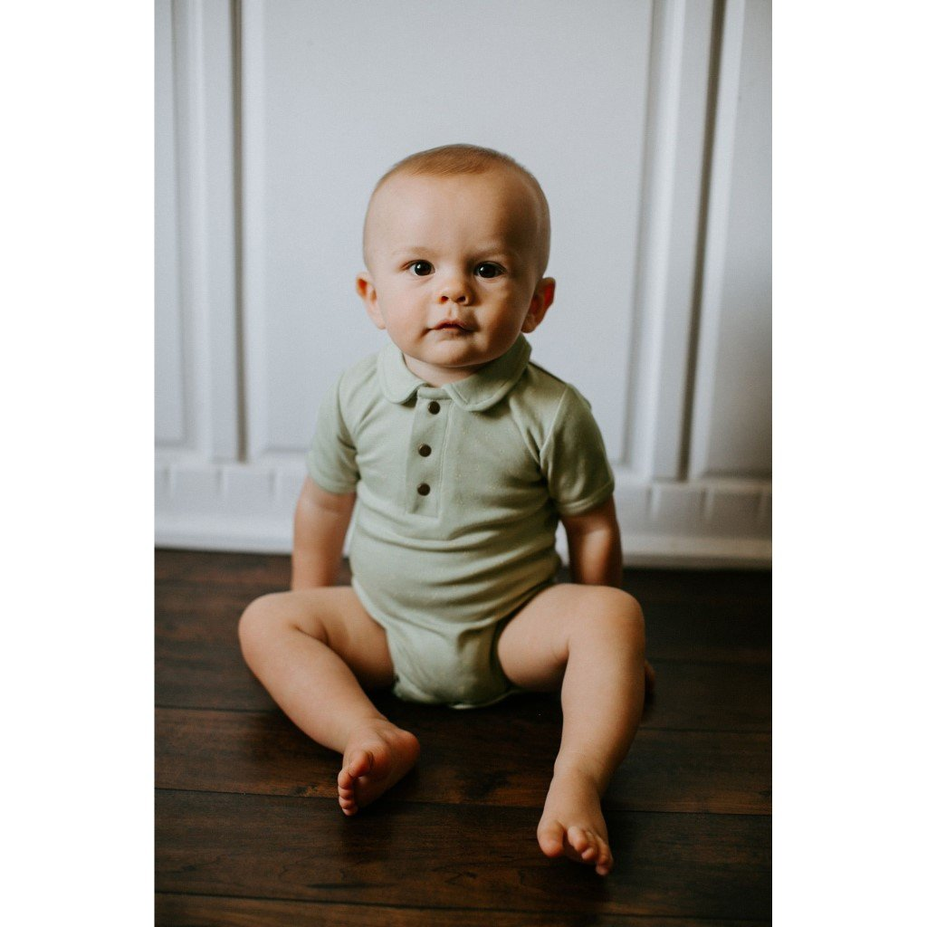 Short Sleeve Polo Bodysuit - Fern Dots