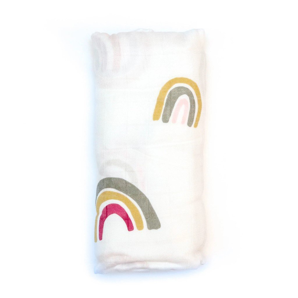 Bamboo/Cotton Muslin Swaddle - Mod Rainbow