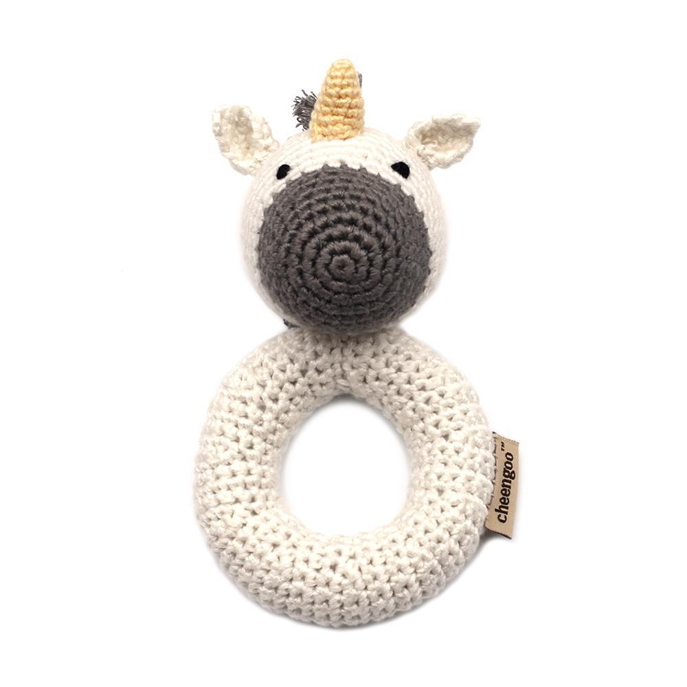 Handmade Crochet Teething Ring Rattle - Unicorn