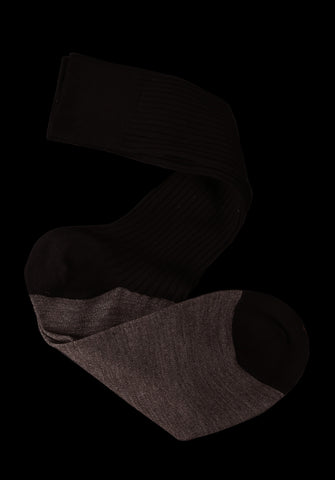 Cashmere + NZ Merino Color Block Mid-Calf