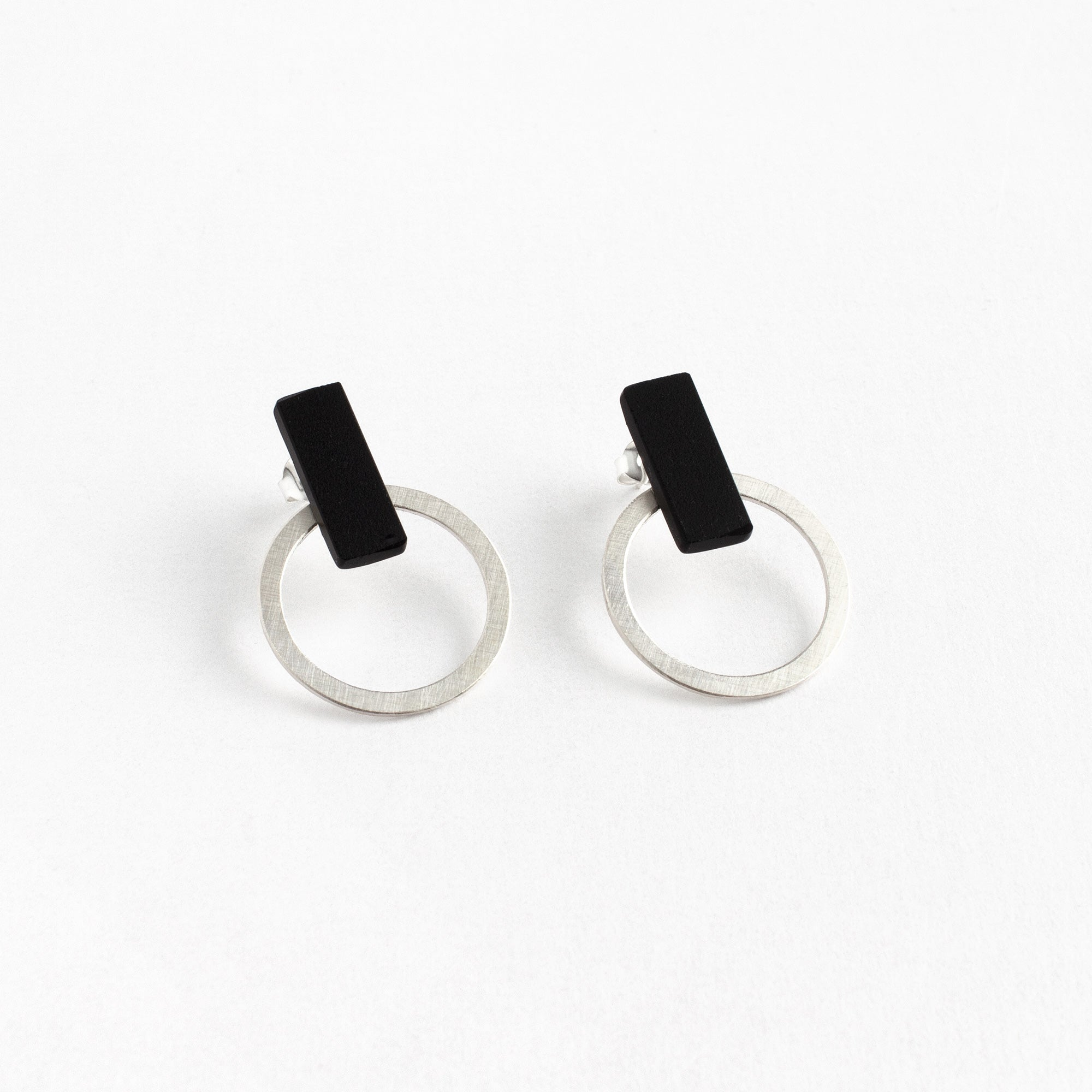Circle Earrings + Matt Black