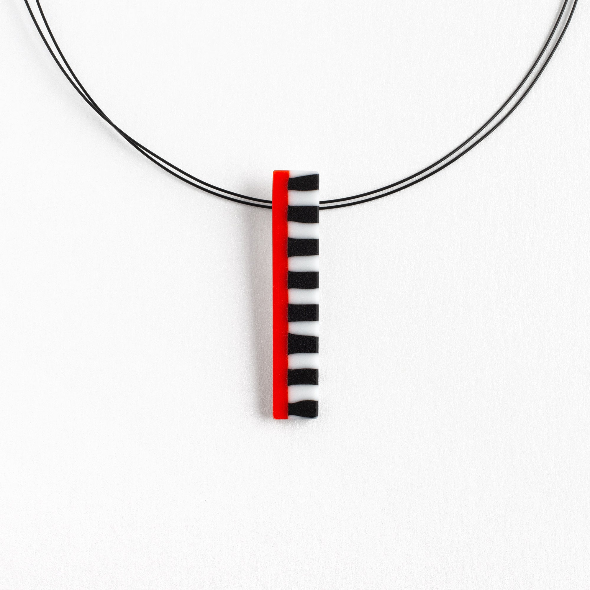 "Orange Rectangle ""Street Lines"" Pendant"