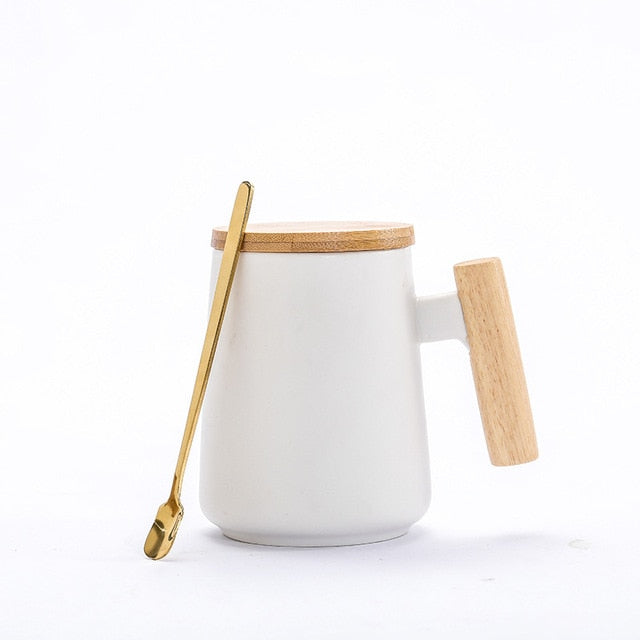 Ceramic Coffee Mug with Wooden Handle - Oh My Gagdet