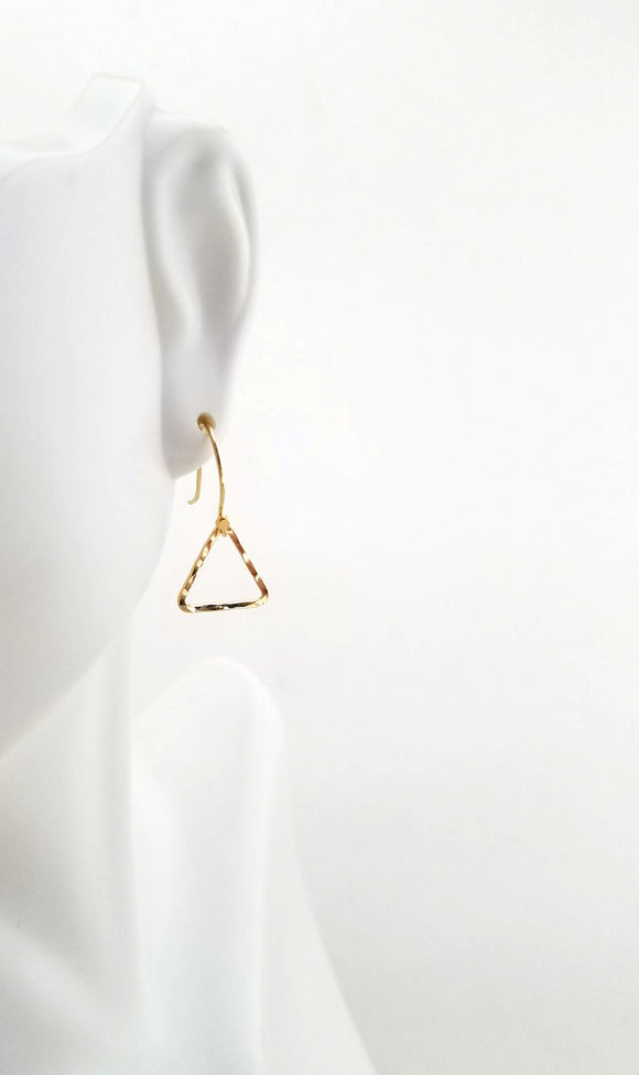 Earrings - 14k Gold Filled Open Triangle with Hammered  Texture. 2 Sizes