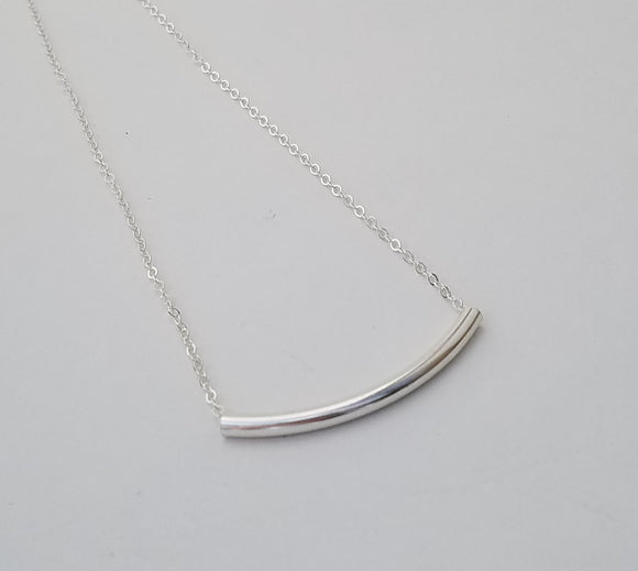 Necklace - Sterling Silver Curved Tube on Curb Chain