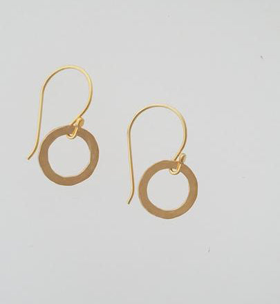 Earrings - 14k Gold Filled Open Circle with Hammered Texture. Multiple Sizes