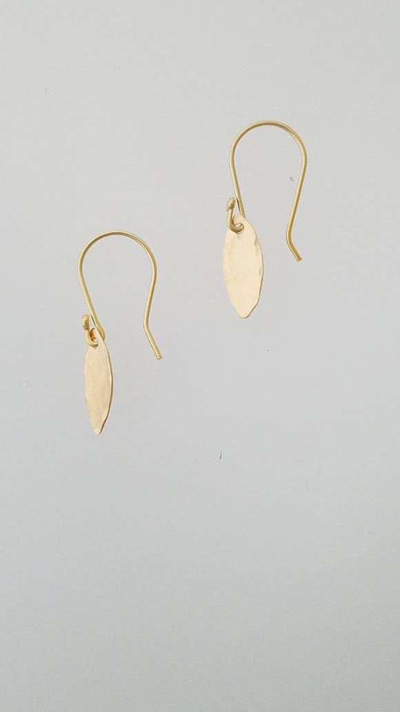 Earrings - 14k gf Marquise with Hammered Texture