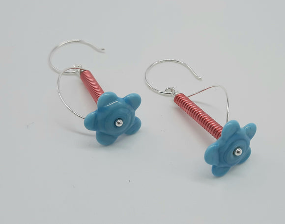 Earrings - Buds & Blossoms. FlowerPower - (aqua) Multiple Color Options