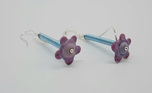 Earrings - Buds & Blossoms. FlowerPower - #214(orchid/baby blue)