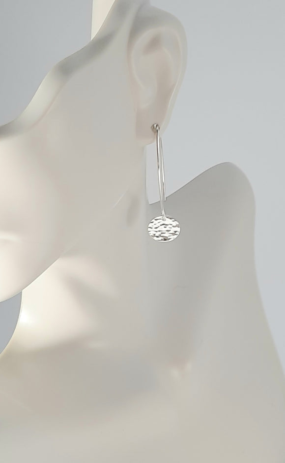 Earrings - Sterling Silver Circle Disks with Hammered Texture on Marquise Wire. Multiple Sizes