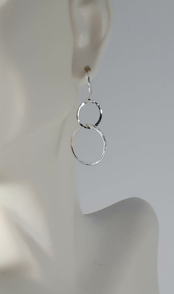 Earrings - Sterling Silver Double Linked Circles with Hammered Texture
