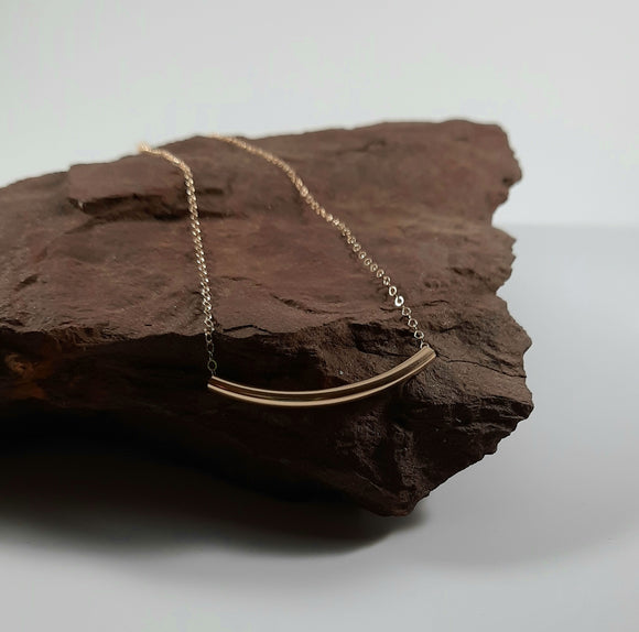 Necklace - 14k Gold Filled Curved Tube on Curb Chain