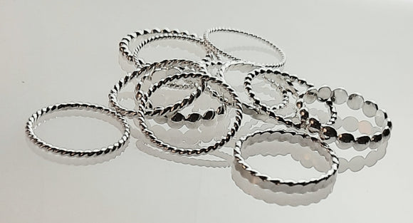 Rings -Sterling Silver 'Stack Happy' rings. . Multiple Pattern Styles