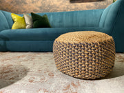 Tajura Pouff | Dark Grey and Jute