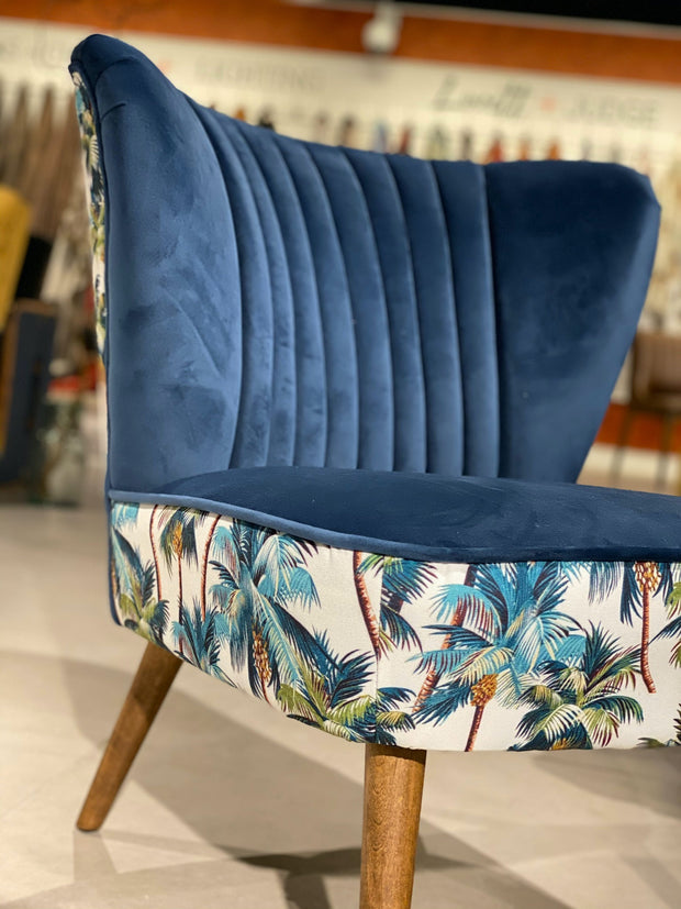 Little Blue Tropical Velvet Winged Chair