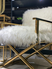 Mongolian Fur Style Director's Chair | White and Brass