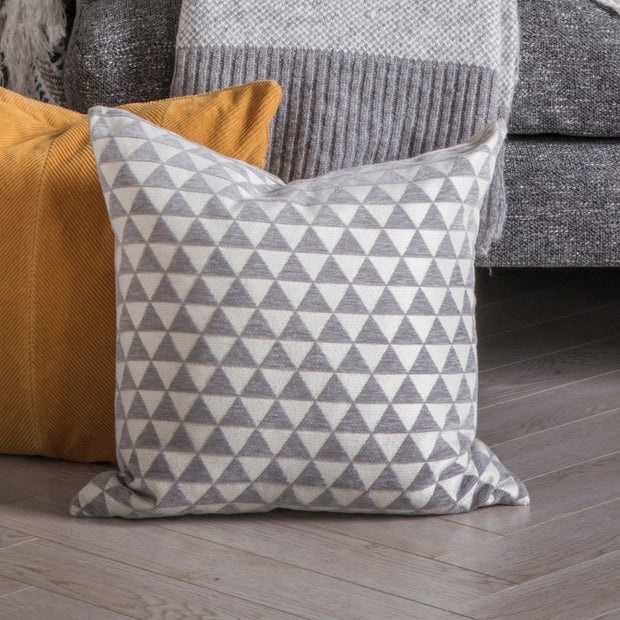 Jacquard Triangles Cushion | Grey