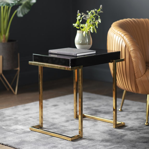Savoy Black Mirrored Side Table