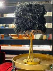 Antique Gold Large Bird Leg Table Lamp with Black Feather Shade