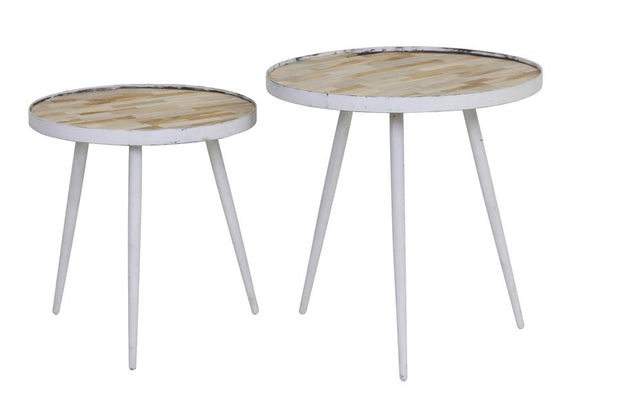Puico Side Tables (set of 2) | Wood and Antique White