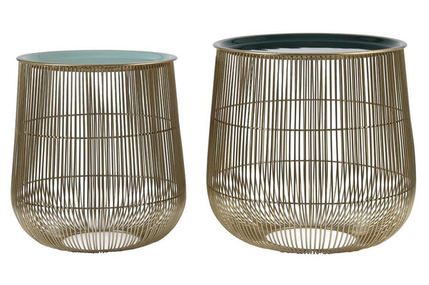 Suno Side Table (set of 2) | Green and Bronze
