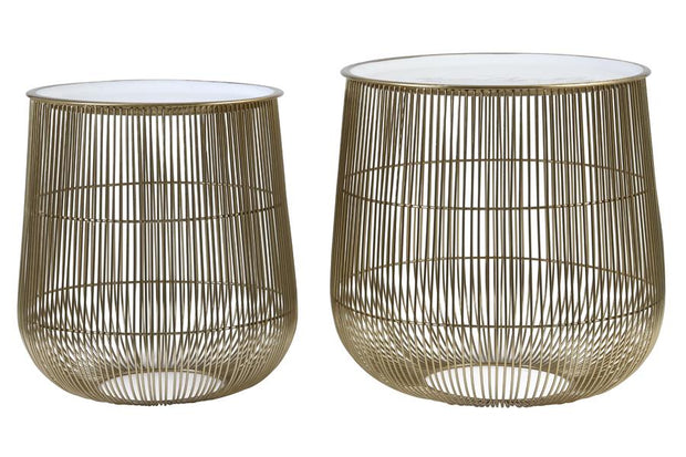 Suno Side Table (set of 2) | White and Bronze