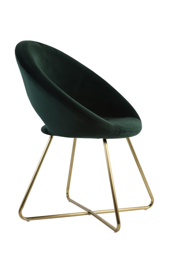 Minelli Velvet Dining Chair | Dark Green and Gold