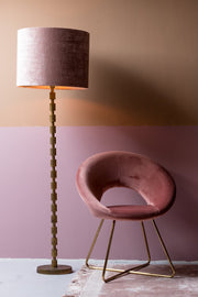Minelli Velvet Dining Chair | Old Pink and Gold