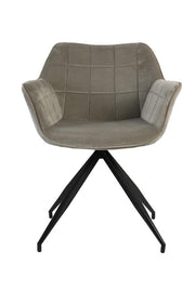 Sputnik Velvet Dining Chair | Light Grey and Black