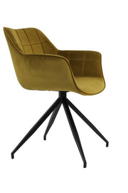 Sputnik Velvet Dining Chair | Ochre and Black