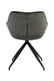 Sputnik Velvet Dining Chair | Dark Grey and Black