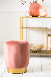 Scarlett Velvet Stool | Old Pink and Gold