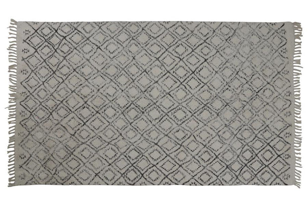Boyaka Rug 230 x 160cm | Black and White Rhombus Print