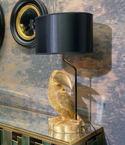Golden Toucan Table Lamp with Black Shade