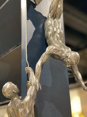 Antique Silver Abseiling Men Wall Figures (Set of 3 )