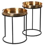 Shiny Nesting Tables (Set of 2) | Brass and Black
