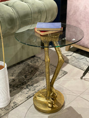 Antiqued Gold Bird Leg Side Table